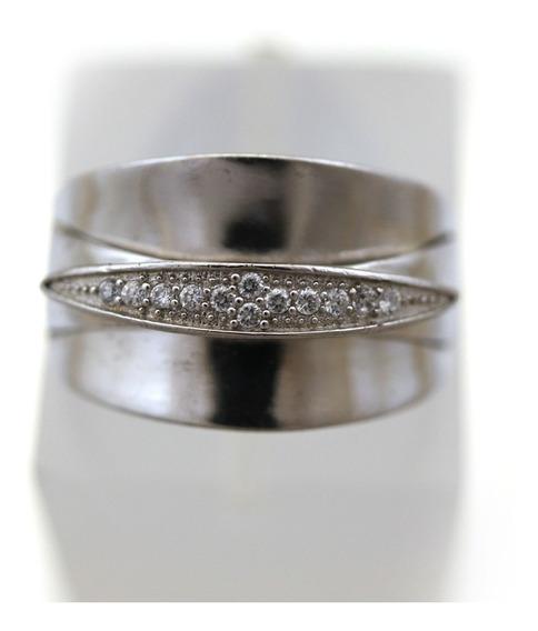 Anel Moderno Prata 925 Detalhes Em Pedras Brancas J16941