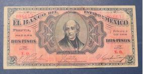 Ganga Billete 2 Pesos De Banco Estado De México 1914 Hidalgo
