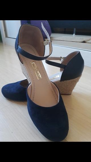Sapato Moleca Anabela Azul Marinho Tamanho 37