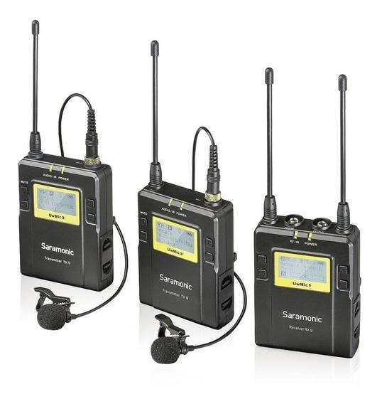 Microfone Lapela Wireless Duplo Sem Fio Saramonic Uwmic9