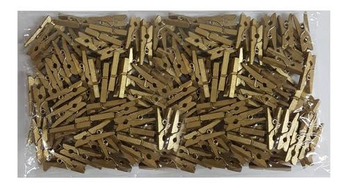 Mini Broches Madera Dorado Pack 100 Unidades 2,5 Cm