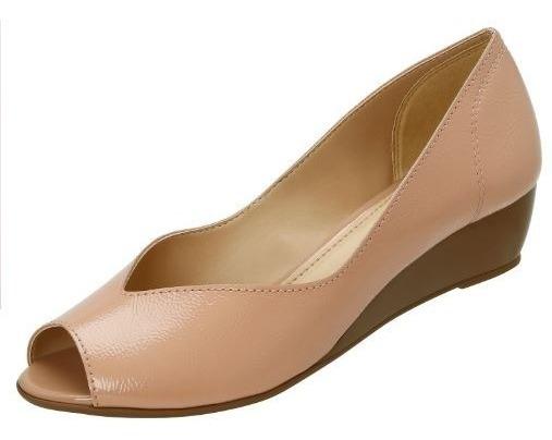 Azaleia 499 Sapato Peep Toe Feminino Anabela Nude