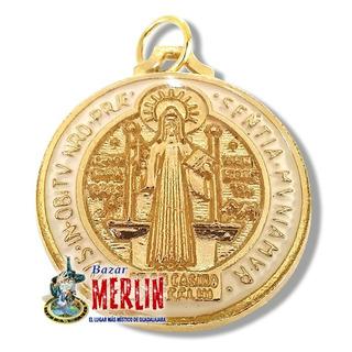 Medalla Italiana De San Benito - Color Blanco Y Chapa De Oro