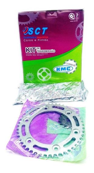 Kit Relação Transmissão Bros 160 Kmc Com Retentor Aço 1045