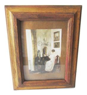 Viejo Porta Retrato Antiguo Marco Madera Vintage 23x19 $590a