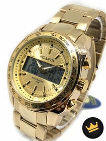 Relógio Dourado Pesado Masculino Aprova D