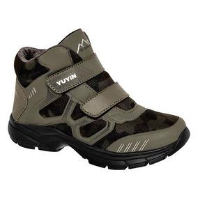 Tenis Sneaker Bota Yuyin Niños Textilsint Verde Dtt 52948