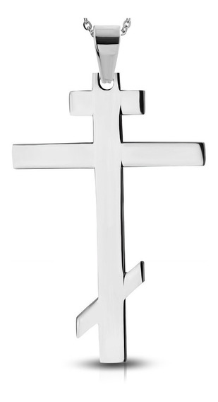 Dije Acero Cruz Grande Ortodoxa Rusa Crucifijo