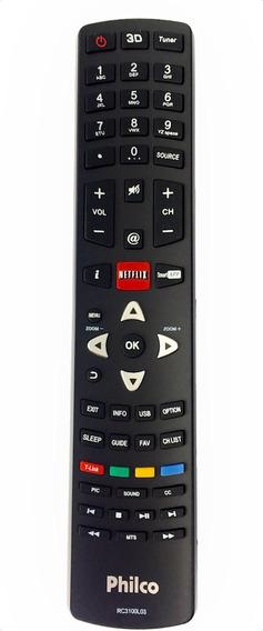 Controle Original Tv Led 3d Philco Rc3100l03 Função Netflix