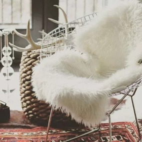Tapete Decorativo Pelego Fake Branco 100x160 Branco Envio