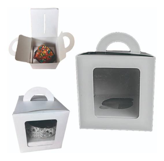 Cajas Para Cupcake Individual Pack 50 Un Con Cuna Y Visor