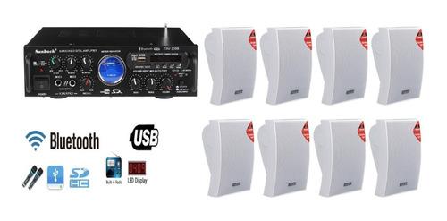 Kit Sonido Ambiental Amplificador Bluetooth +8parlante Pared
