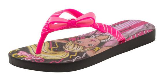 Chinelo Infantil Feminino Barbie Ipanema - 25729 Preto/rosa