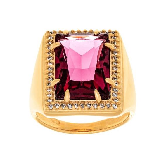 Maxi Anel Banhado Ouro Cristal Retangular Zircônias 512763
