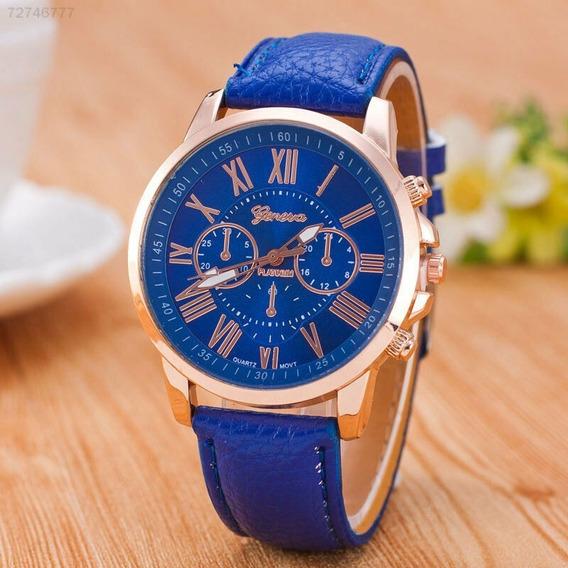 Relógio Feminino Genova Azul Pulseira De Couro Lindo!!!