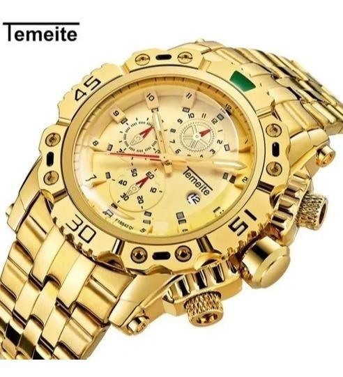Relógio Masculino Original Luxo Dourado Marca Famosa Top D++