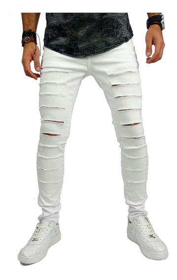 Calça Super Skinny Masculina Rasgada Destroyed Mod9