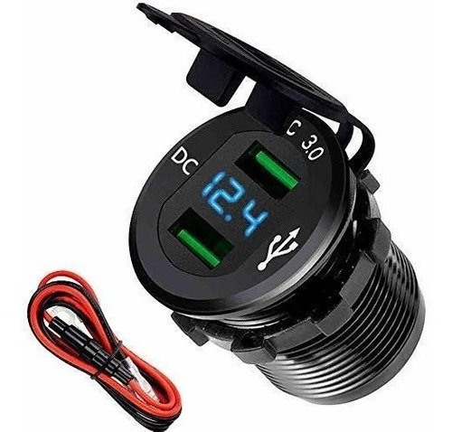 Car Cell Phone Charger Socket Quick Charge 3.0 Dual Usb Wate
