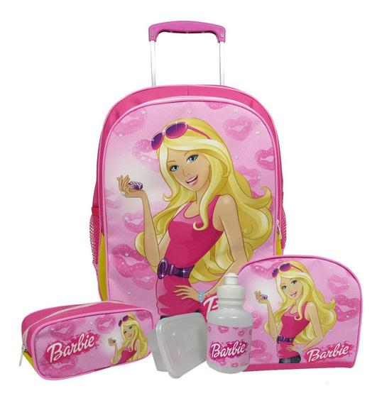 Kit Mochila Escolar Infantil De Rodinhas Barbie Tamanho G