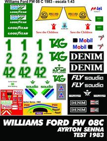 Decalques Para Williams 1983 Teste Ayrton Senna Escala 1:43