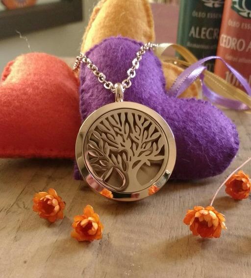 Colar Difusor Aromático Aço Inox Árvore Da Vida Rosê
