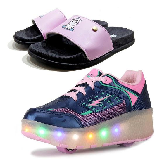 Combo Kids Tênis Com 2 Rodinha E Chinelo Slide Confort Slim