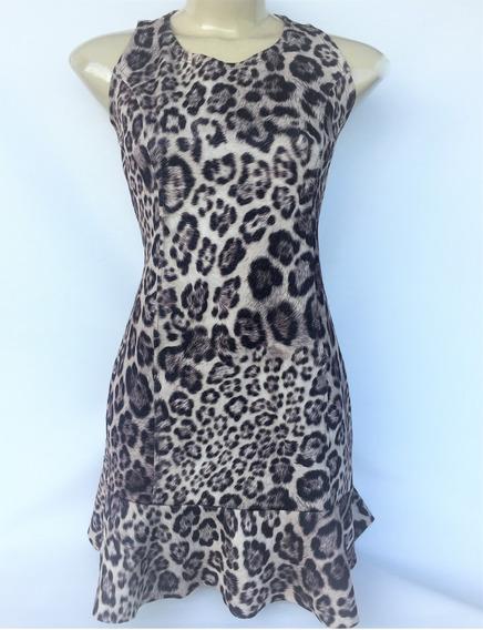 Vestido Curto Peplum Estampa Animal Print Onça Da Show Girls