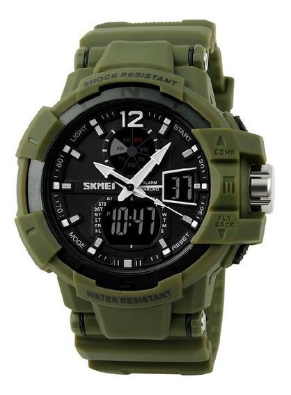 Relógio Esportivo Militar Skmei 1040 Modelo Masculino Verde