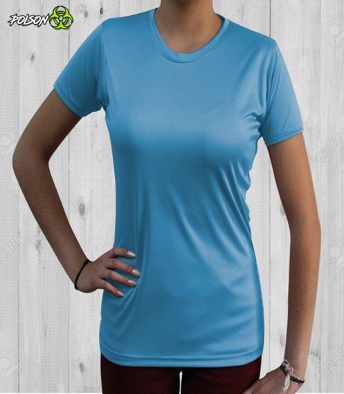 Playera Premium Cuello Redondo Dryfit! Mujer Azul Cielo