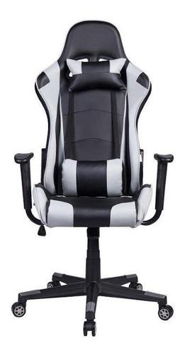 Cadeira de escritório Pelegrin 3012 gamer ergonômica preta e cinza con estofado do couro sintético