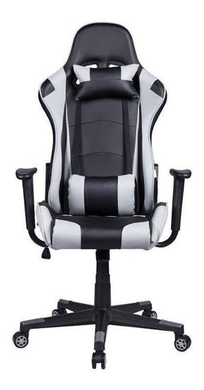 Cadeira de escritório Pelegrin 3012 ergonômica preta e cinza con estofado do couro sintético