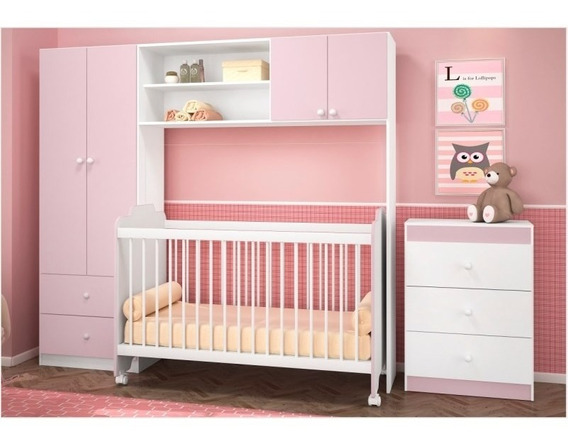 Quarto Infantil 4 Pts C/ Berço E Cômoda Ternura Branco/rosa