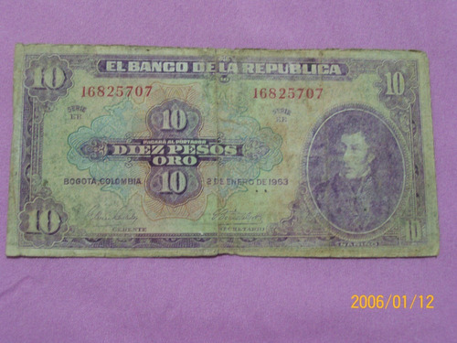 Billete Colombia     10 Pesos Oro       2 De Enero De 1963.