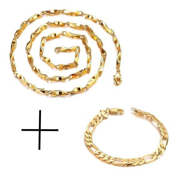 Conjunto Masculino (corrente + Pulseira) Banhadas Em Ouro18k
