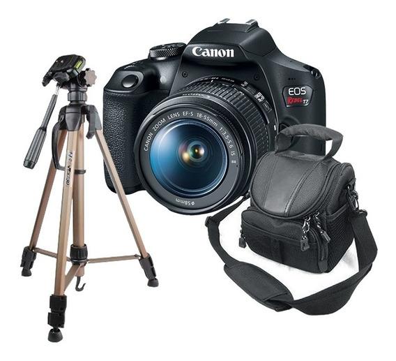 Câmera Canon T7 + Tripé Para Fotografia + Bolsa