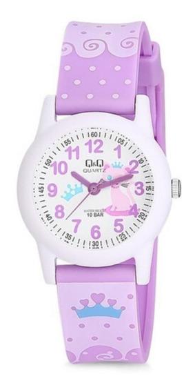 Relógio Feminino Infantil Lilás E Branco Q&q Prova D