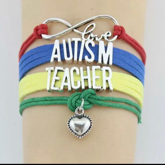 Pulseira Couro Amor Infinito Autismo Professora