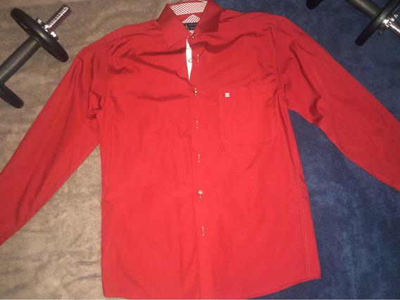 Camisa Roja De Botones, Monsieur By Manchester, Talla S