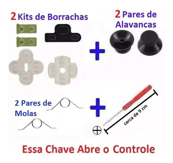 2 Kits Borrachas Controle Ps3 + Chave + Alavancas + Molas