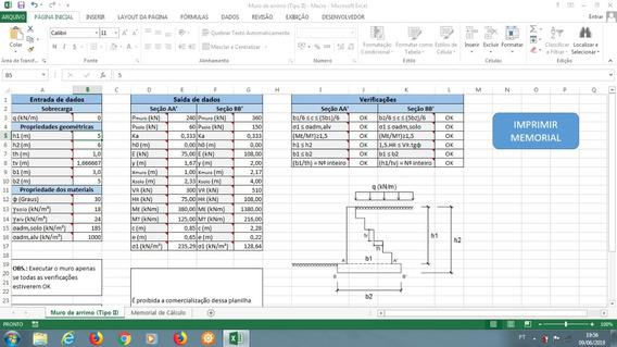 Planilha Para Cálculo De Muro De Arrimo (perfil Escalonado)