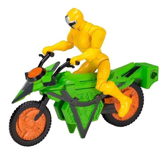 Power Ranger Boneco Ranger Amarelo E Moto Tramsforma Bandai