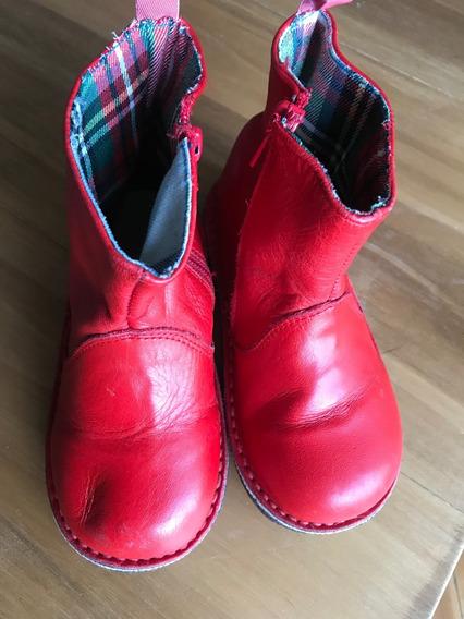 Botas Cuero Rojo - Talle 25 - Nenas !