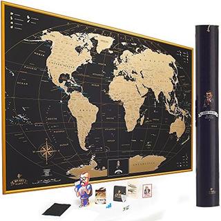 Deluxe Rascar Mapa Del Mundo Poster De Pared Con Nosotros Es