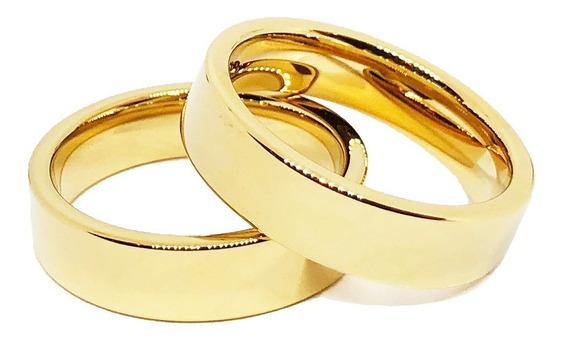 Par Aliança Ouro 18k Tungstênio Banhada Casamento Reta 6mm