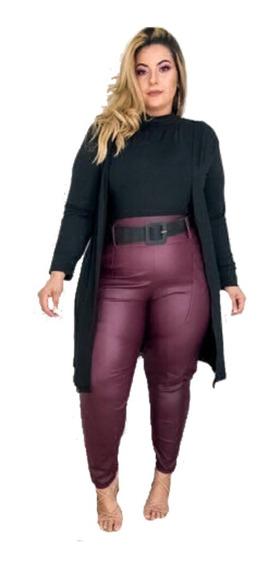 Conjunto Blusa Calça E Cardigan Plus Size 48 A 52