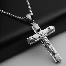 Corrente Banhada A Prata Jesus Crito Crucifixo Presente Femi