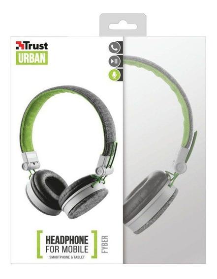Fone De Ouvido Headphone Trust Urban Fyber Cinza E Verde