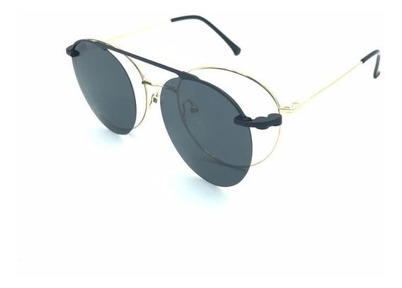 Óculos Armações Masculino Feminino Redondo Clipon Solar Grau