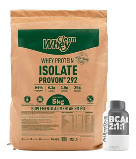 Clean Whey Isolada (5kg) Glanbia + Bcaa - Brinde