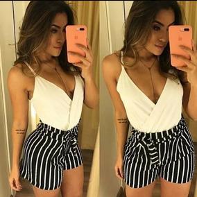 Shorts Listrado Laço - Beleza Pura
